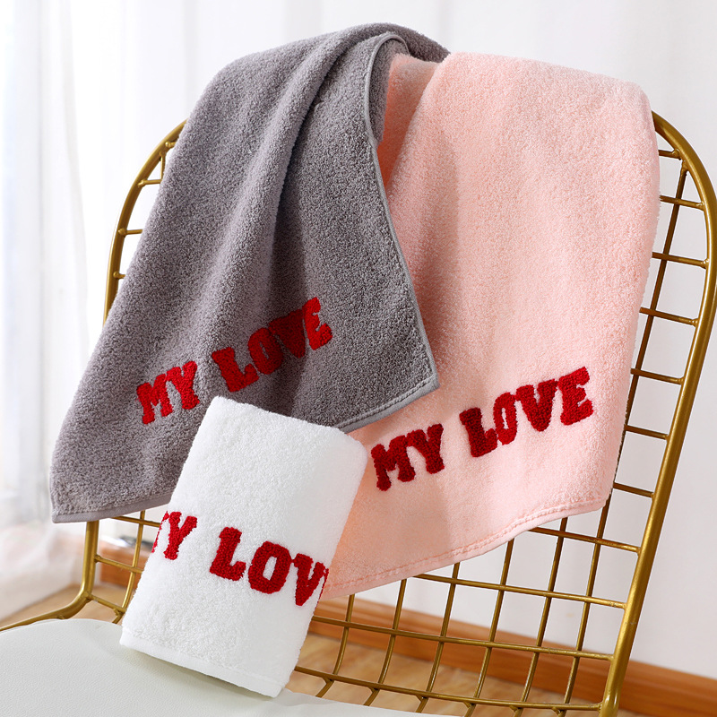 FOURETAW 1 Piece Chic The MY LOVE Embroidery 100 Cotton Face Towel Bath Towel Soft Cotton Beauty Towel Bathroom Products in Bath Towels from Home Garden