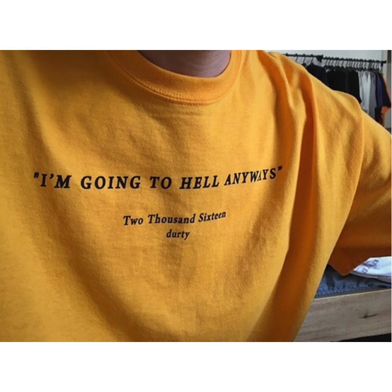 5015eae1 I am going to hell anyways t shirt fashion yellow cotton shirt 90s fashion  women goth