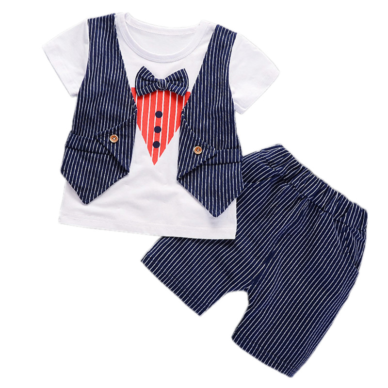 Gentleman Baby Boy Clothes Set Summer 2018 New Striped Baby Boy Girl Clothing Set Cotton Baby Clothes Suits  Infant Kids Clothes 2pcs set baby clothes set boy