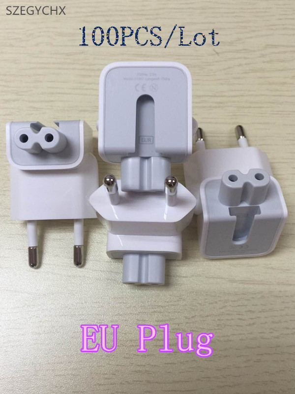 100PCS Lot Wall AC Detachable EU Plug for iPad 10w 12w Charger For MacBook 29w 45w