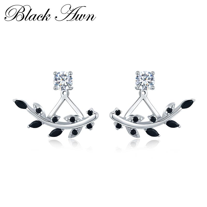 100% Echtem 925 Sterling Silber Schmuck Schwarz Spinell Stein Trendy Engagement Stud Ohrringe Für Frauen I003