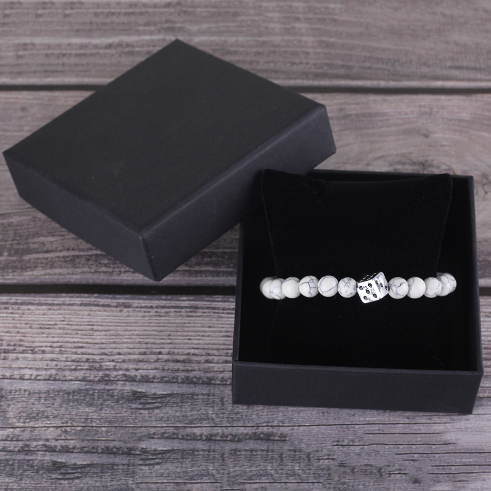 Luxury silver plated Dice bracelet Charm Natural stone beads bracelet Lucky gift for women Men 39 s Bracelets amp Bangles Accessories in Charm Bracelets from Jewelry amp Accessories