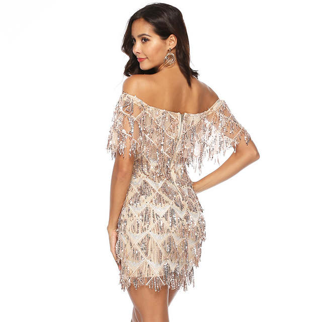 df39c8a5a6 Sexy Off Shoulder Sequined Tassel Bodycon Dress Female Glitter Backless  Party Dress Cascading Sequin Patchwork Womens Club Dress