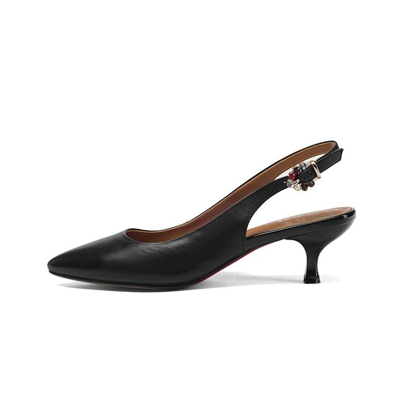 Ribetrini De Qualité cyan Solide Flambant En Med Meilleur Noir Pompes Cuir Talons Chaussures Mode Sangle Véritable Femme Boucle Neuf Mince D'été 3ARL4c5jq