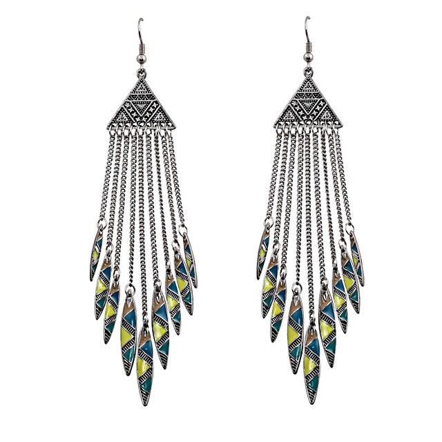 Bohemian Ethnic Tribal Earring Retro Silver Triangle Enamel Arrow Drop Tel Dangle Earrings Jewelry Whole 12