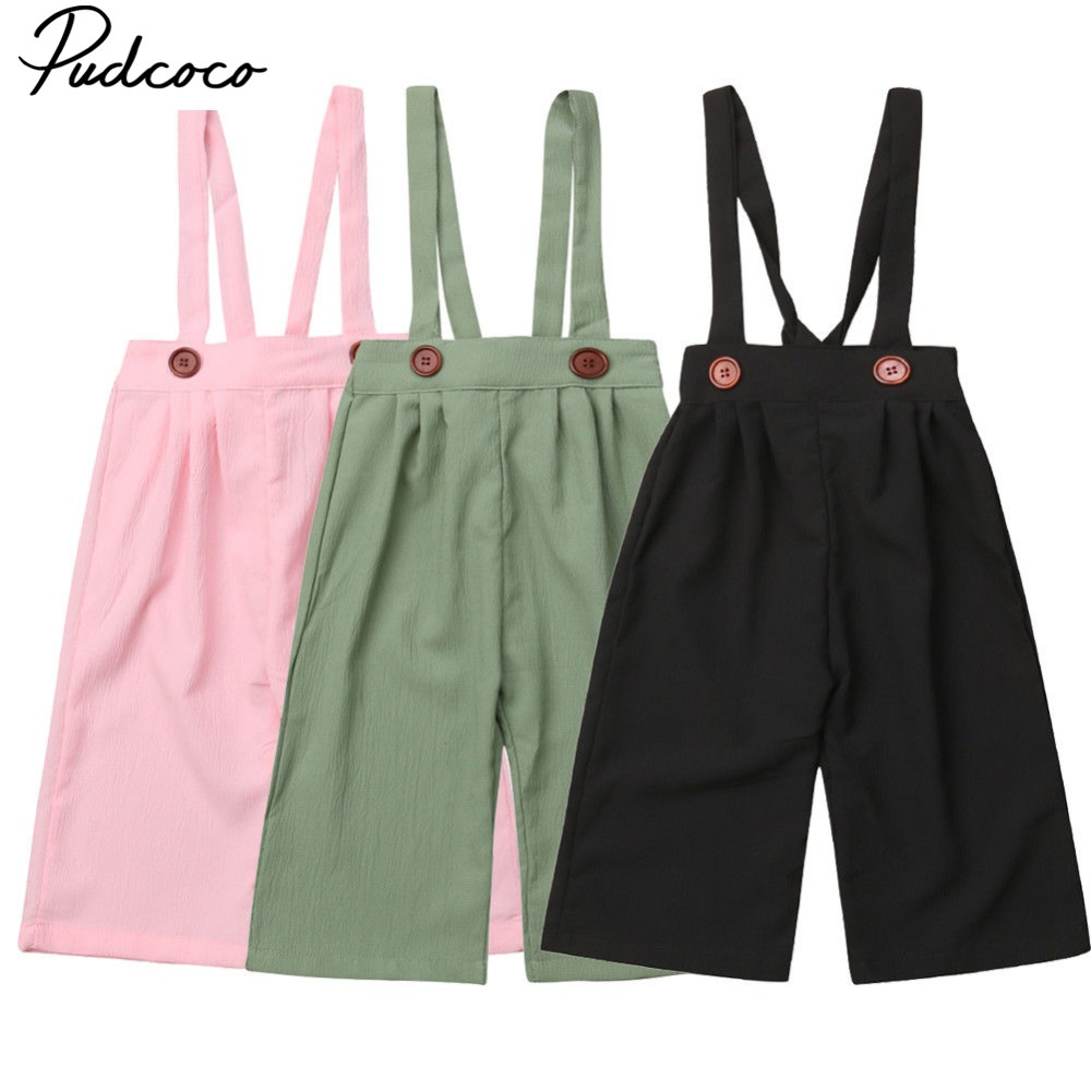 Pudcoco 2019  Baby Girl Clothing Overalls Rompers Solid Cotton Casual Trousers Toddler Kid Baby Girls Chiffon Strap Pants 6M-5TPudcoco 2019  Baby Girl Clothing Overalls Rompers Solid Cotton Casual Trousers Toddler Kid Baby Girls Chiffon Strap Pants 6M-5T