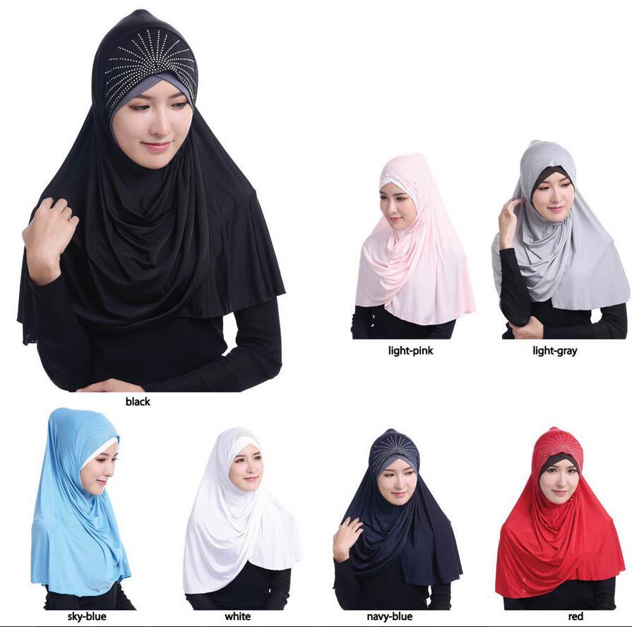 7 colors Full Cover Muslim Inner Cap Rhinestones Decoration Islamic Turban Beanies Modal Underscarf Ninja Hijab