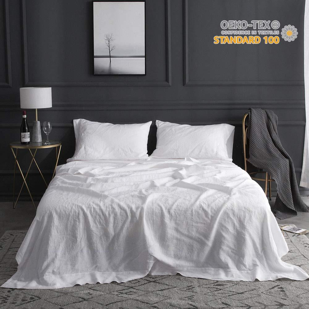 Бесплатная доставка 100% чистый льняной лист с вышивкой мягкий белый серый 4 шт. включает простыня на резинке, наволочка