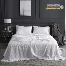 Бесплатная доставка 100% чистый лен простыни комплект с вышивкой мягкий белый серый 4 шт. включают плоский лист простыня на резинке, наволочка