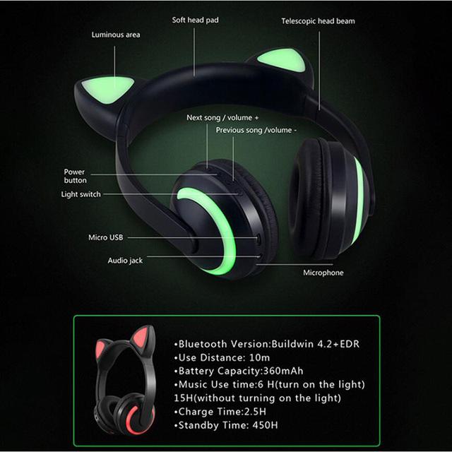BONWAYE Wireless Bluetooth Cat Ear Headphones with Seven kinds of LED light Flashing Glowing Cosplay Fancy Cat Earphone gifts