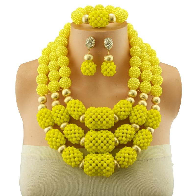 Perles de perles simulées jaunes ensemble de bijoux de perles de cuivre africain 2018 ensembles de collier de mariage nigérian pour les femmes