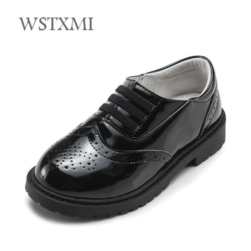 New Wedding Boys Leather Shoes for Children Black Oxford School Girls Dress  Shoes Kids Moccasins Uniform Patent Leather Rubber e31d4a8d7d02