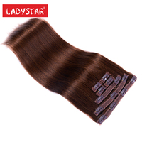 LADYSTAR Remy Hairpieces 20 24 Inch Clip In Extensions Light Brown Colors Clips Hair Extensions For