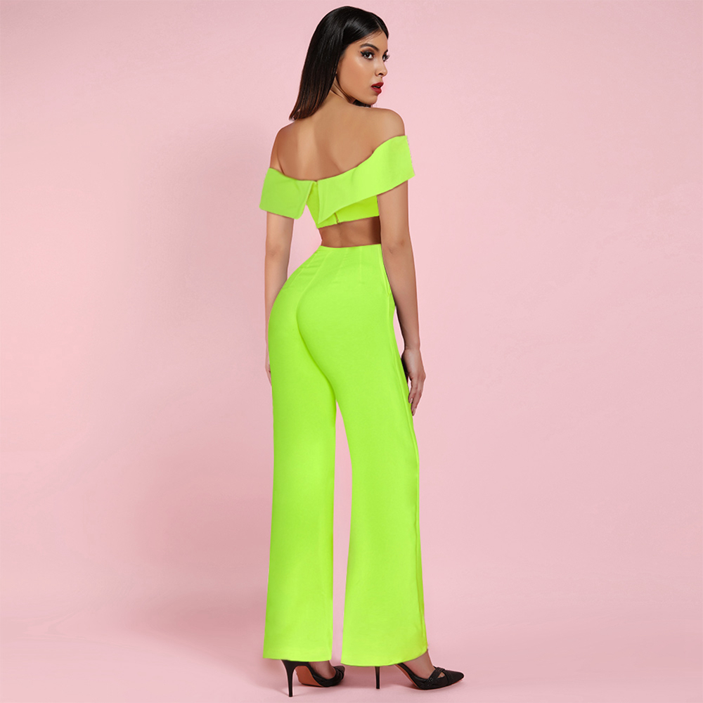 OCSTRADE New Arrival 2019 Women Neon Sexy Off Shoulder Bandeau Top AND Wide Leg Pants 2 Piece Set