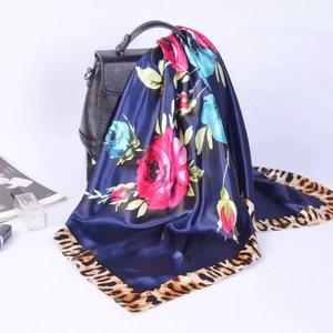 Image 5 - Весна лето квадратный шелковый шейный шарф женские шарфы шейный платок для офиса Дамская шаль Бандана 90 см мусульманский хиджаб платок из фуляра глушитель