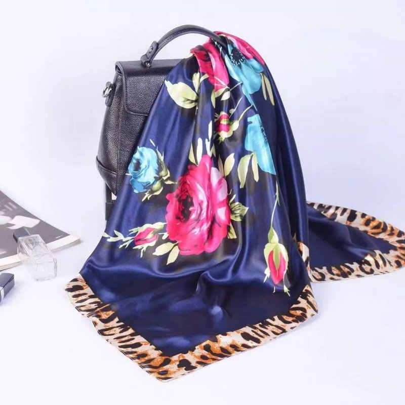 Primavera estate di Seta Quadrato Sciarpa di collo Delle Donne Sciarpe collo Ufficio Delle Signore Scialle Bandana 90 centimetri Musulmano Hijab fazzoletto foulard silenziatore