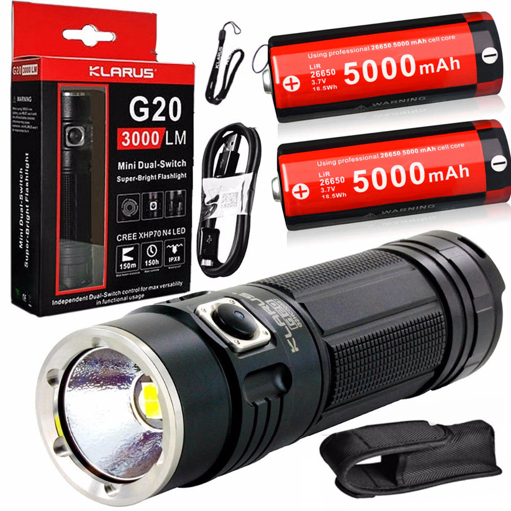 KLARUS G20 Rechargeable Flashlight CREE XHP70 N4 LED 3000LM dual-switch outdoor torch waterproof + 2 x 26650 5000mAh batteryKLARUS G20 Rechargeable Flashlight CREE XHP70 N4 LED 3000LM dual-switch outdoor torch waterproof + 2 x 26650 5000mAh battery