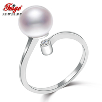 100% 925 Sterling Silver Women's Pearl Ring with 8mm 9mm White Natural Freshwater Pearls Classic Style Fine Jewelry