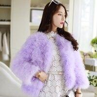 New Luxury Elegant Warm Ladies Ostrich Fur Coat Short Turkey Feather Jacket Winter Overcoat Women Coat 9 Colors to Choose