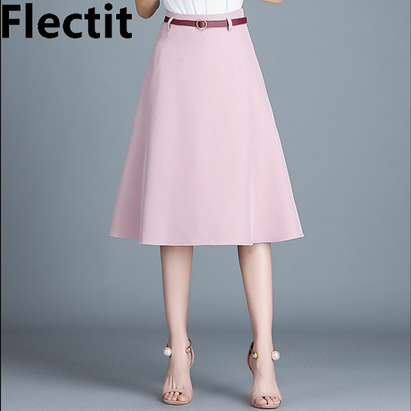 Flectit Womens A Line Midi Skirt In Pink Black Beige Khaki Saia Feminina Plus Size XXL