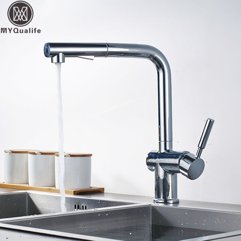 Chrome Pull Out Kitchen Sink Mixer Tap Deck Mounted Sprayer Stream Swive Spout Hot Cold Water Tap for Kitchen One Hole Water Tap pull out sprayer kitchen faucet chrome deck mounted 360 degree luxury white hot and cold stream water mixer bathroom tap sink