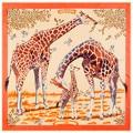 Fashion Animal Giraffe Pattern Silk Twill Scarves Women Ercharpe Blue Foulard Bandana Scarf Wrap Lady Luxury Muffler Hijabs 130