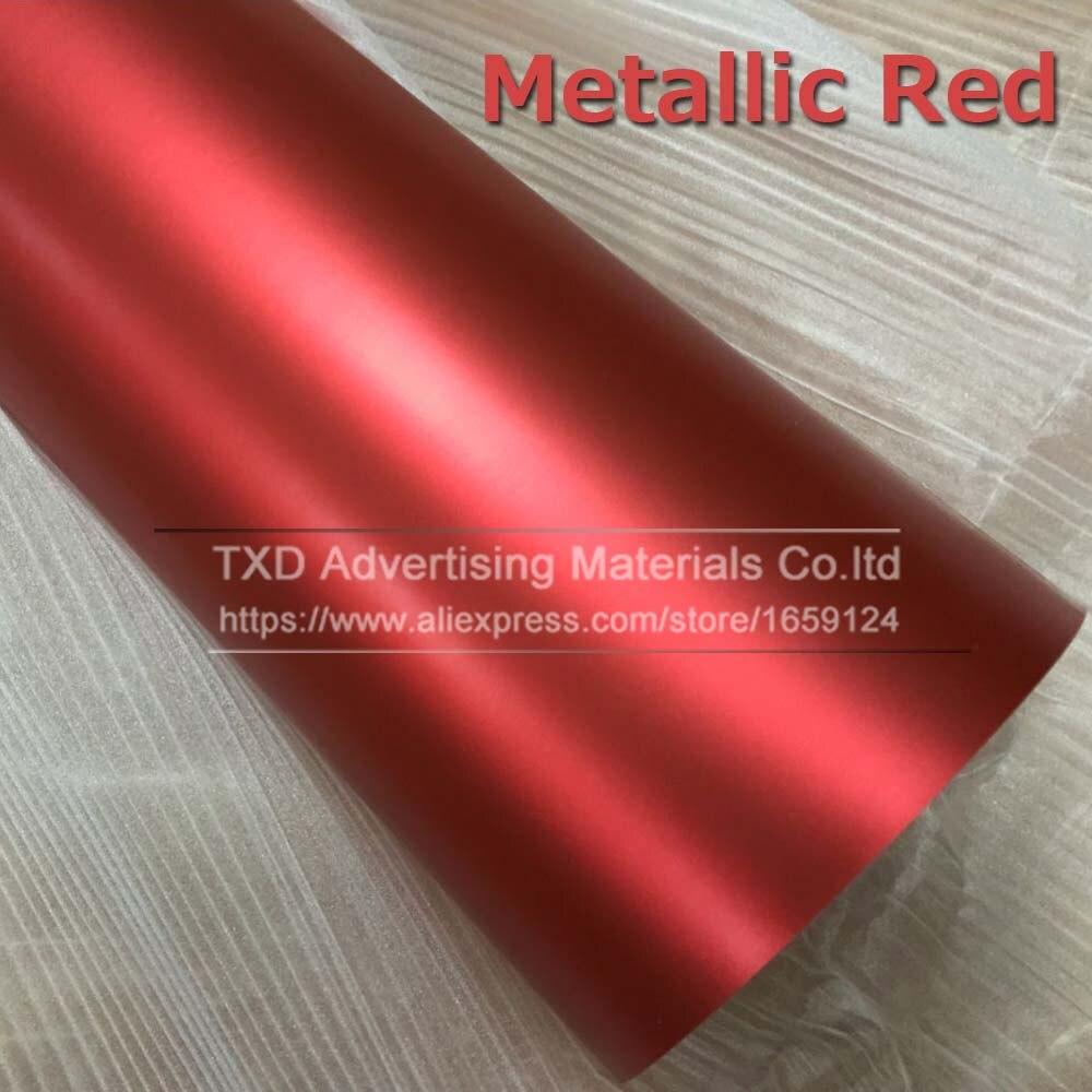 1,52*5 м/10 м/15 м/20 м в рулоне Премиум атласный металлический матовый хром Красный Синий Зеленый Виниловая пленка без пузырей - Название цвета: Red