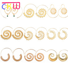 CKW Unique Variety Circle Spiral Diamate Earring Exaggeration Swirl Gear Shape Women Earrings Aretes De Mujer Modernos 2018(China)