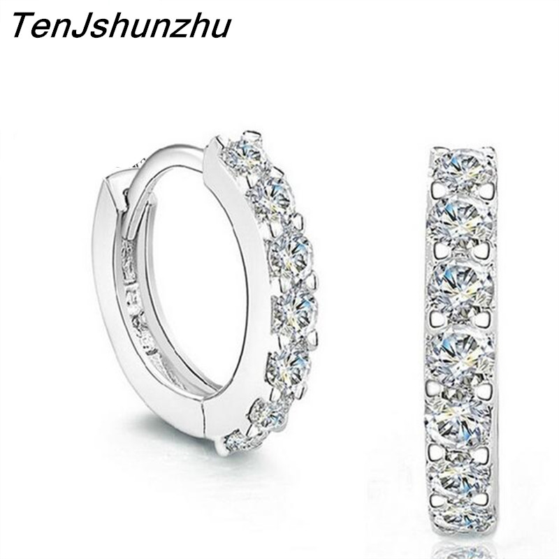 925 Sterling Silver Hypoallergenic Earrings Zircon Stud Earring for Women Girl Simple Jewelry Brincos Joyas De Plata 925 EH056 1