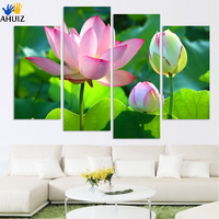 calligraphy Wealth luxury golden flowers 4 Piece Art lotus Picture Home Decor Canvas Modern Wall Prints Canvas Painting