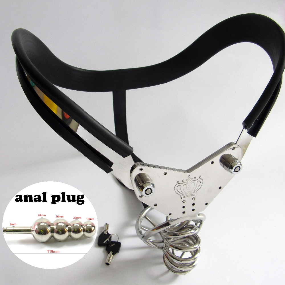 Stainless steel man chastity belt arc waist with anal plug new penis cage chastity device cock cage male bondage sex toy for man arc waist belts stainless steel male chastity belt pants with anal plug handcuffs men strapon bondage hand cuffs chastity device