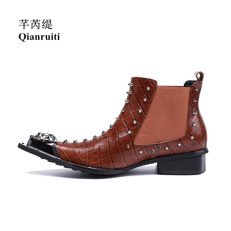 Qianruiti  Men's Ankle Boots Chelsea Rivet Boots Chaussure Homme Cow Leather Shoes Elastic Band Metal Toe Men Short Boots iahead men boots men chelsea boots winter lace up flats casual shoes men leather ankle boots chaussure homme de marque mh598