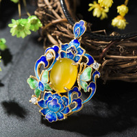 Yellow Agate S925 Sterling Silver Burning Blue Cloisonne Retro Thai Silver Jewelry National Butterfly Orchid Pendant Female