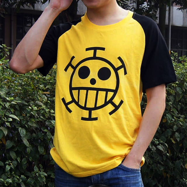 41a56b0bd Anime One Piece Trafalgar D Water Law Short Sleeve Cotton T Shirt Cosplay  Clothes Casual T
