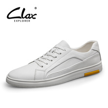 CLAX Mens Leather Shoes 2019 Spring Autumn Casual Shoe Male Walking Footwear Mans white