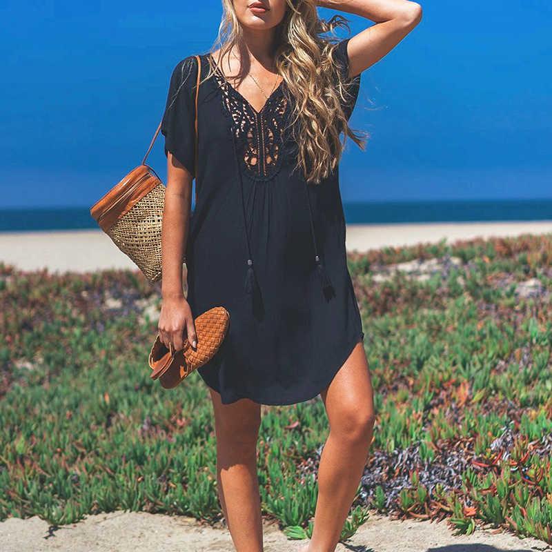 10d83da6783 Cotton Beach Dress Cover Up Sarong Swim Suit for Women Pareos De Playa  Mujer Beachwear Black