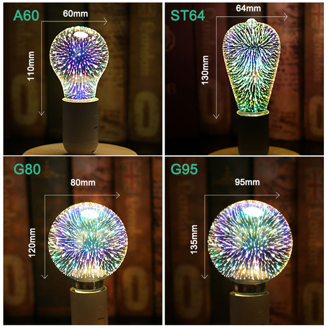 LED Light Bulb E27 3D Fireworks Decorative Edison Bulb 220V