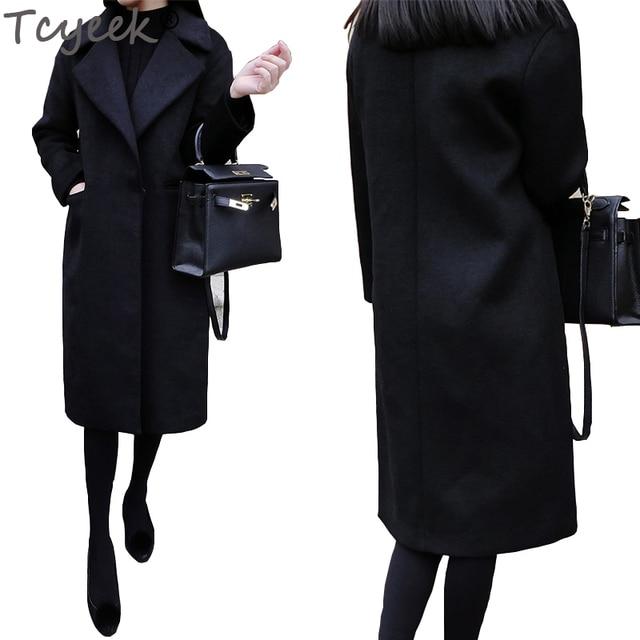 Zwarte Winterjas Dames Lang.Tcyeek Zwarte Wollen Jas Vrouwen Medium Lange Slanke Pak Kraag