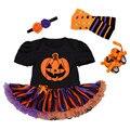 2017 Baby Clothes For Newborn Cartoon Halloween Baby  Pumpkin Jumpsuits Dress Printed Baby Dress 4pcs