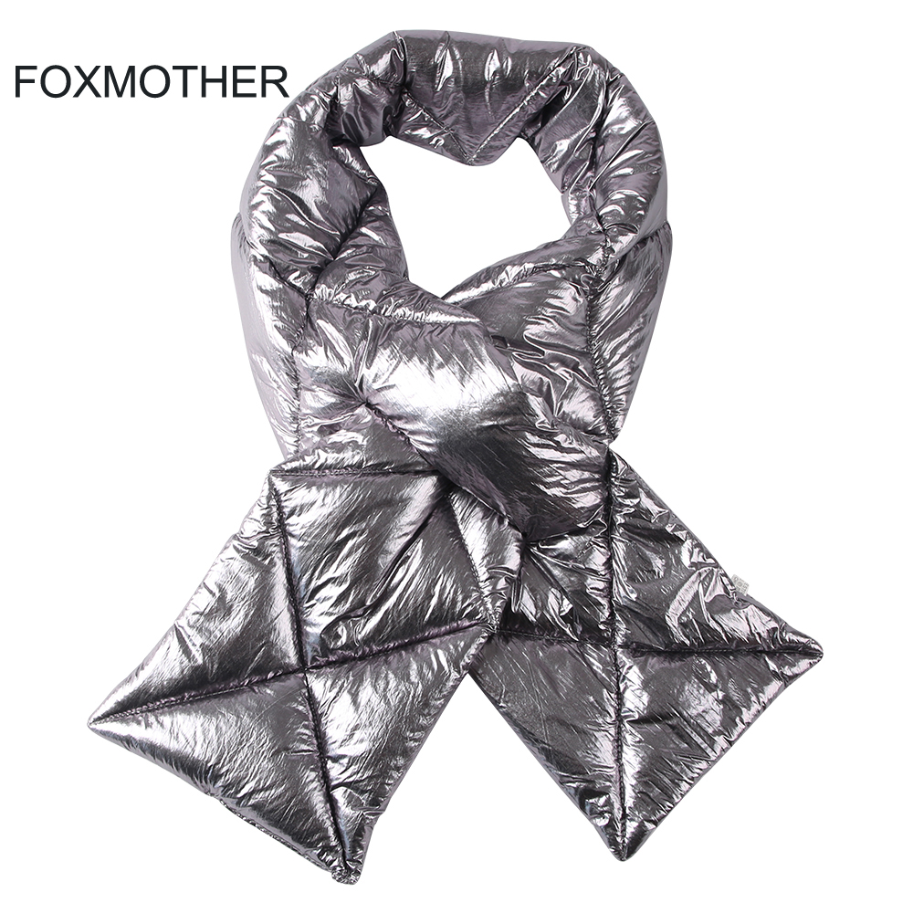 FOXMOTHER 2019 New Design Brand Winter Black Sliver Down Scarf Collar Neck Warmer Stuff Scarves Metallic Echarpe Women