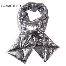FOXMOTHER 2019 Yeni Tasarım Marka Kış Siyah Gümüş Aşağı Eşarp Yaka Boyun Isıtıcı Şeyler Eşarp Metalik Echarpe Kadınlar