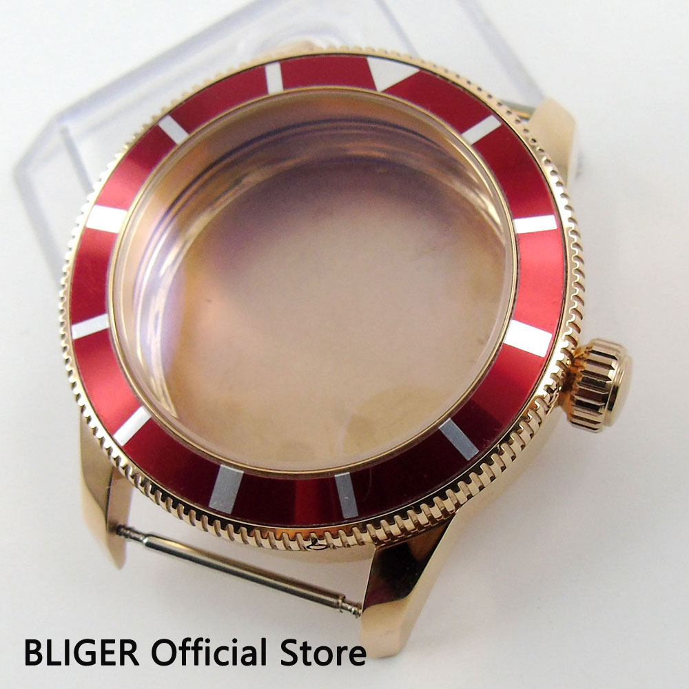 Fit ETA 2824 2836 MIYOTA 8215 Automatic Movement 46MM Stainless Steel Rose Golden Case Red Bezel Watch Case C91 цена и фото
