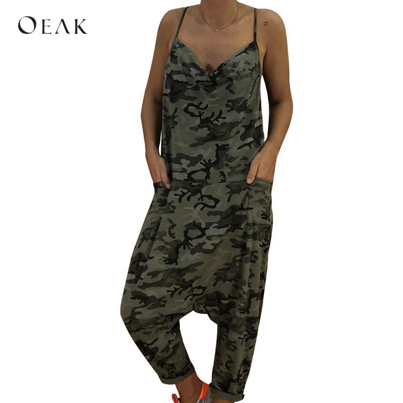 OEAK Summer Women Spaghetti Strap Long   Jumpsuit   Sexy Sleeveless V-Neck Camouflage Print Playsuits Loose Baggy Harem   Jumpsuits