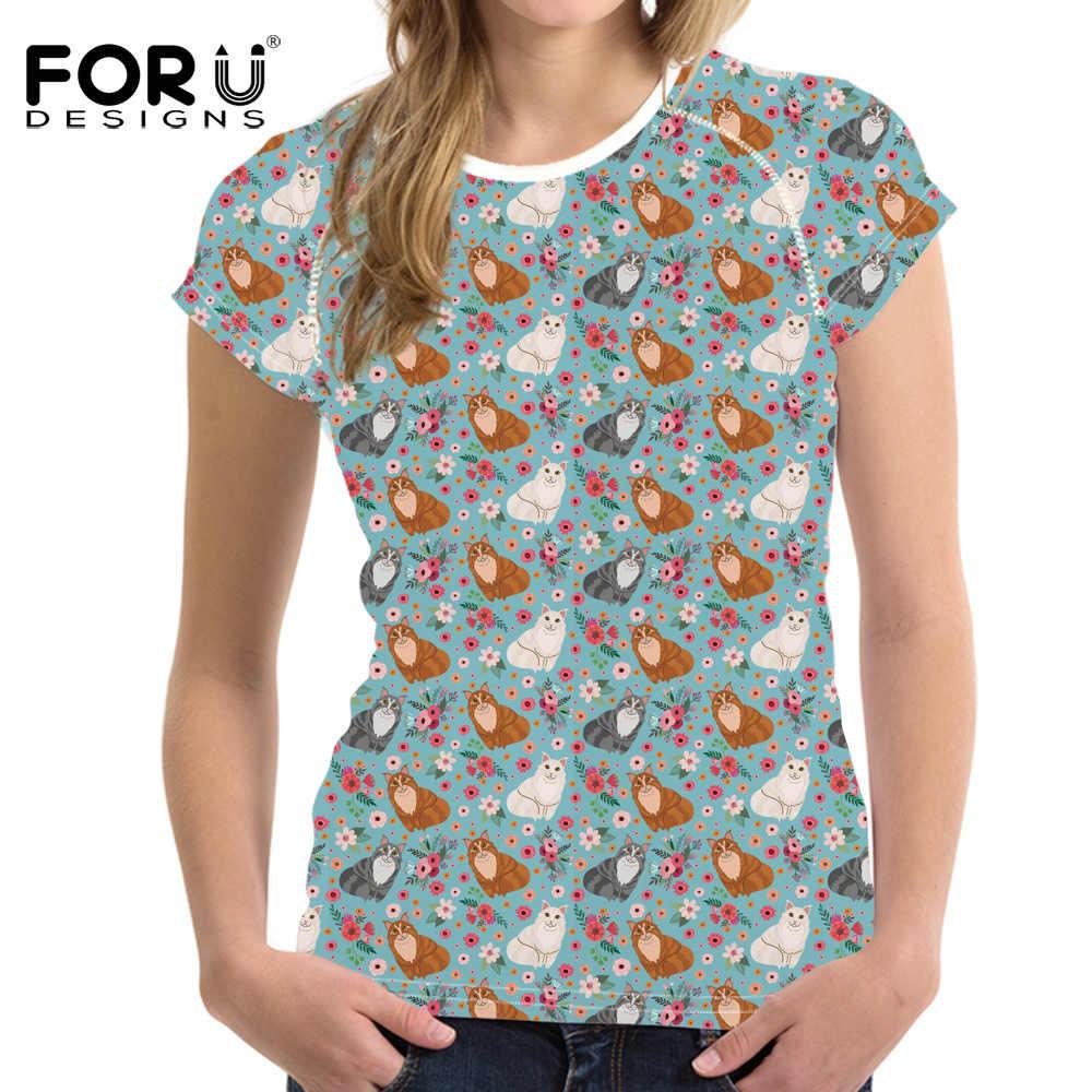 FORUDESIGNS 2018 Fashion Korte Mouw T Shirts Exotische Korte Haar Bloem 3D Afdrukken O-hals T-shirts Meisjes Dames Merk Tee Shirt
