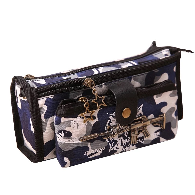 Creative cool camouflage large capacity stationery school supplies pen case bag pouch pencil box with lock pencil case for boys kawaii cartoon girls folding multifunction school supplies pencil case cute stationery pen bag pouch box pencilcase for gir b157