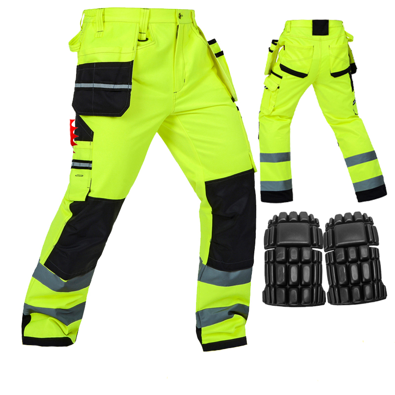 Men Working Pants Reflective High visibility Multi-pockets Work Trousers With Knee Pads Workwear Safety Cargo Pants ccgk safety clothing reflective high visibility tops tee quick drying short sleeve working clothes fluorescent yellow workwear