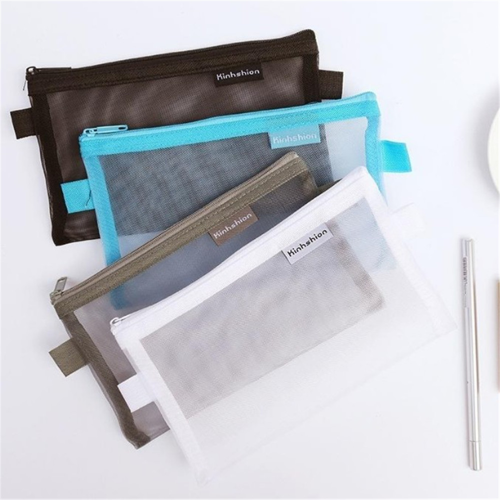 High Quality Durable Nylon Mesh Make Up Bags Student Pencil Case Zipper File Holder Cosmetic Bag Stationery Storage Pouch