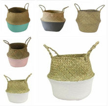 Household Foldable Seagrass Woven Flower Basket pot Handmade Tote Belly