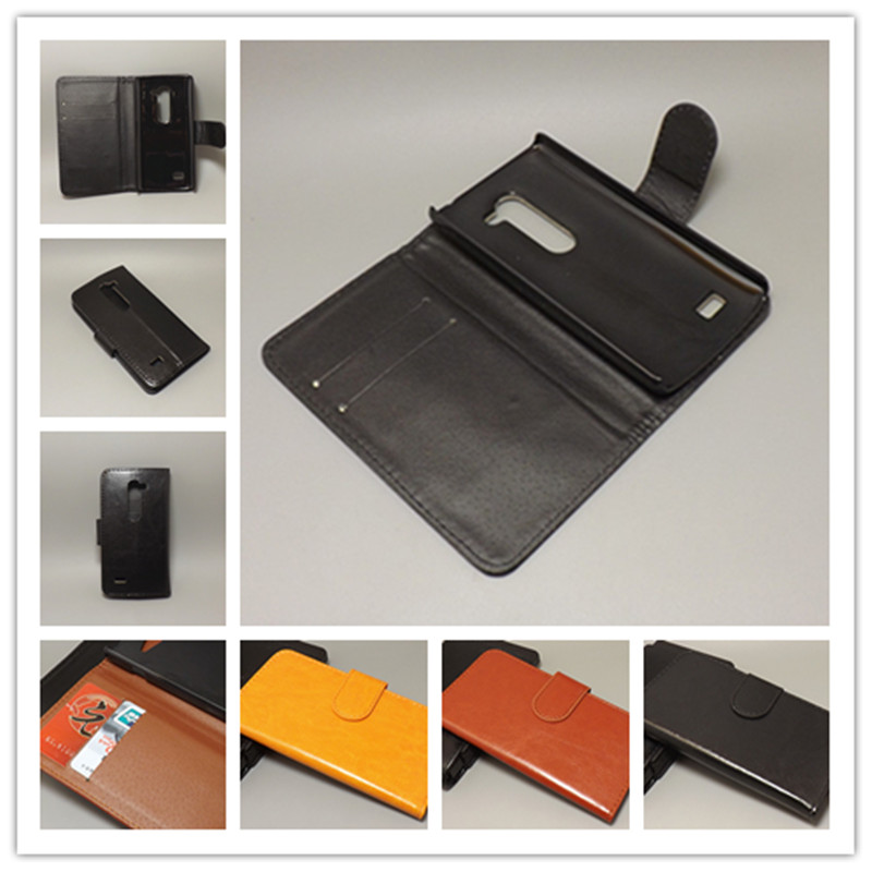 Crazy horse wallet case hold two Cards with 2 Card Holder and pouch slot for lg C40/Power L22C/Destiny L21G/Tribute 2 LS665