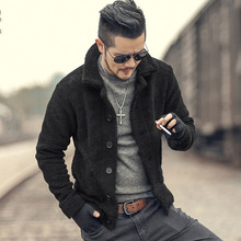 2018 Winter furry jacket men warm plush collar slim casual solid knitwear Mens fur padded new design woolen knitted cardigan